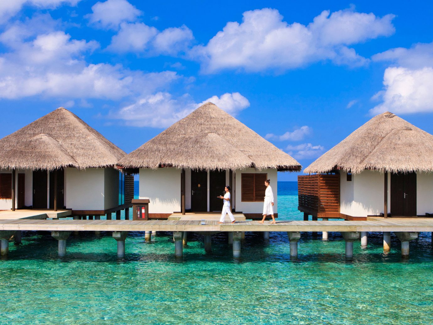 Overwater bungalows at Velassaru Maldives