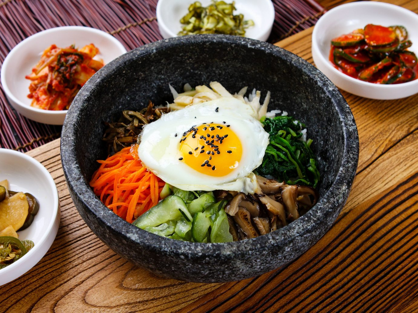 Travel Tips food plate table dish bowl cuisine meal asian food gimbap steamed rice vegetarian food bibimbap side dish lunch breakfast namul korean food recipe banchan appetizer chinese food thai food comfort food different various meat several vegetable