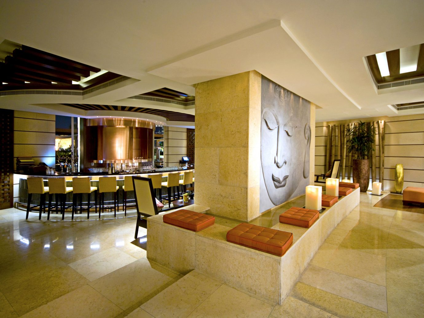 Bar Dining Drink Dubai Eat Hip Hotels Luxury Luxury Travel Middle East Modern indoor floor ceiling room Living wall property estate furniture home house Lobby interior design condominium real estate living room Design mansion Villa area wood