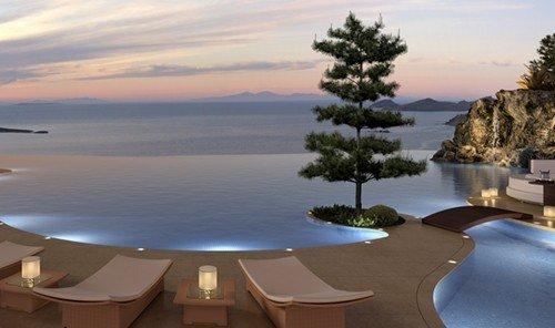 Hotels water sky outdoor property ecosystem swimming pool Resort vacation Nature estate bay overlooking screenshot Villa shore Island