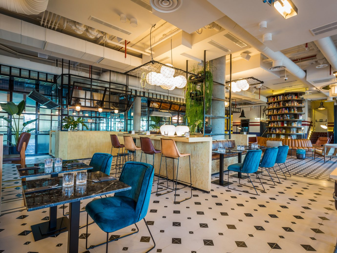 Hotels Madrid Spain indoor floor chair ceiling room restaurant blue interior design cafeteria furniture Resort area several