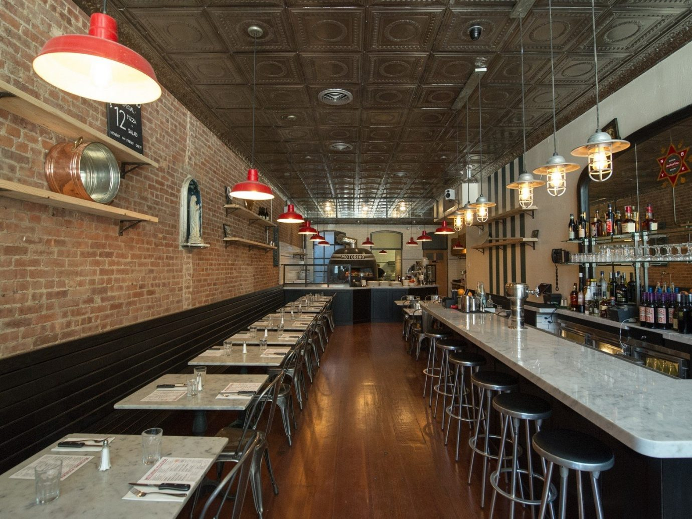 Brooklyn City Food + Drink NYC building indoor Bar platform interior design restaurant long steel subway