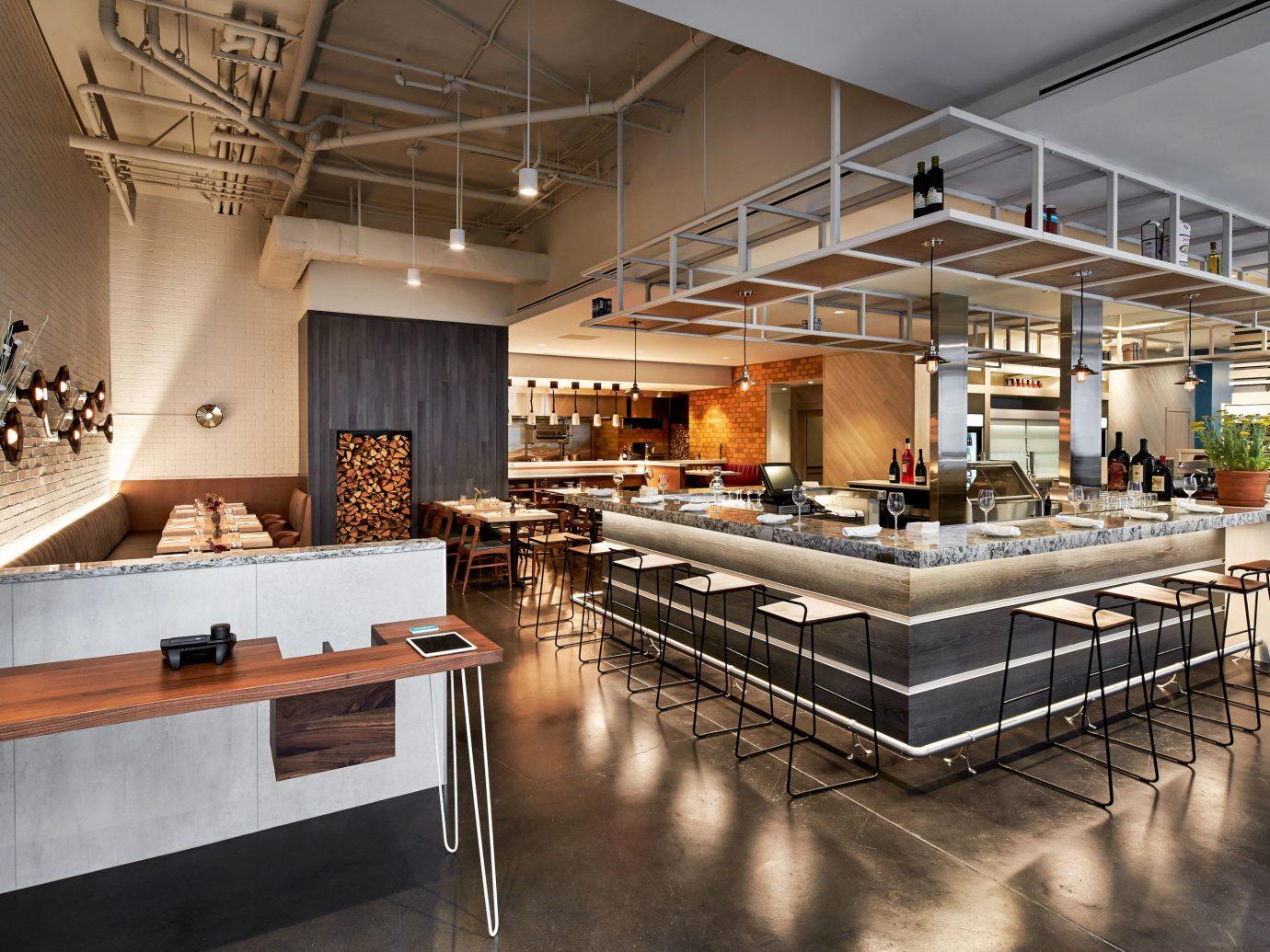 Food + Drink indoor floor ceiling interior design Kitchen countertop loft interior designer several