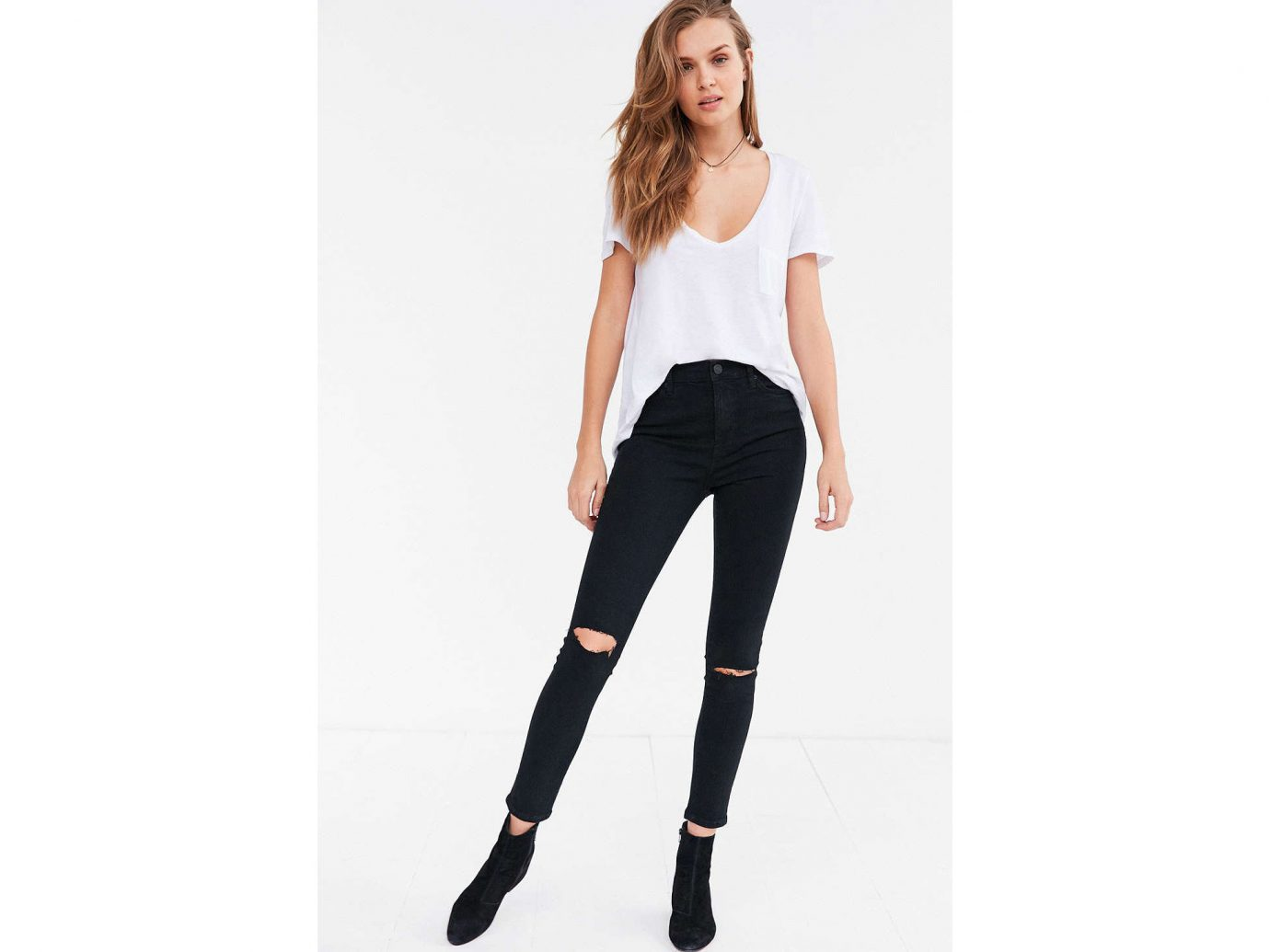 Style + Design clothing jeans person waist shoulder leggings fashion model joint tights trousers trouser neck abdomen trunk human leg denim thigh posing