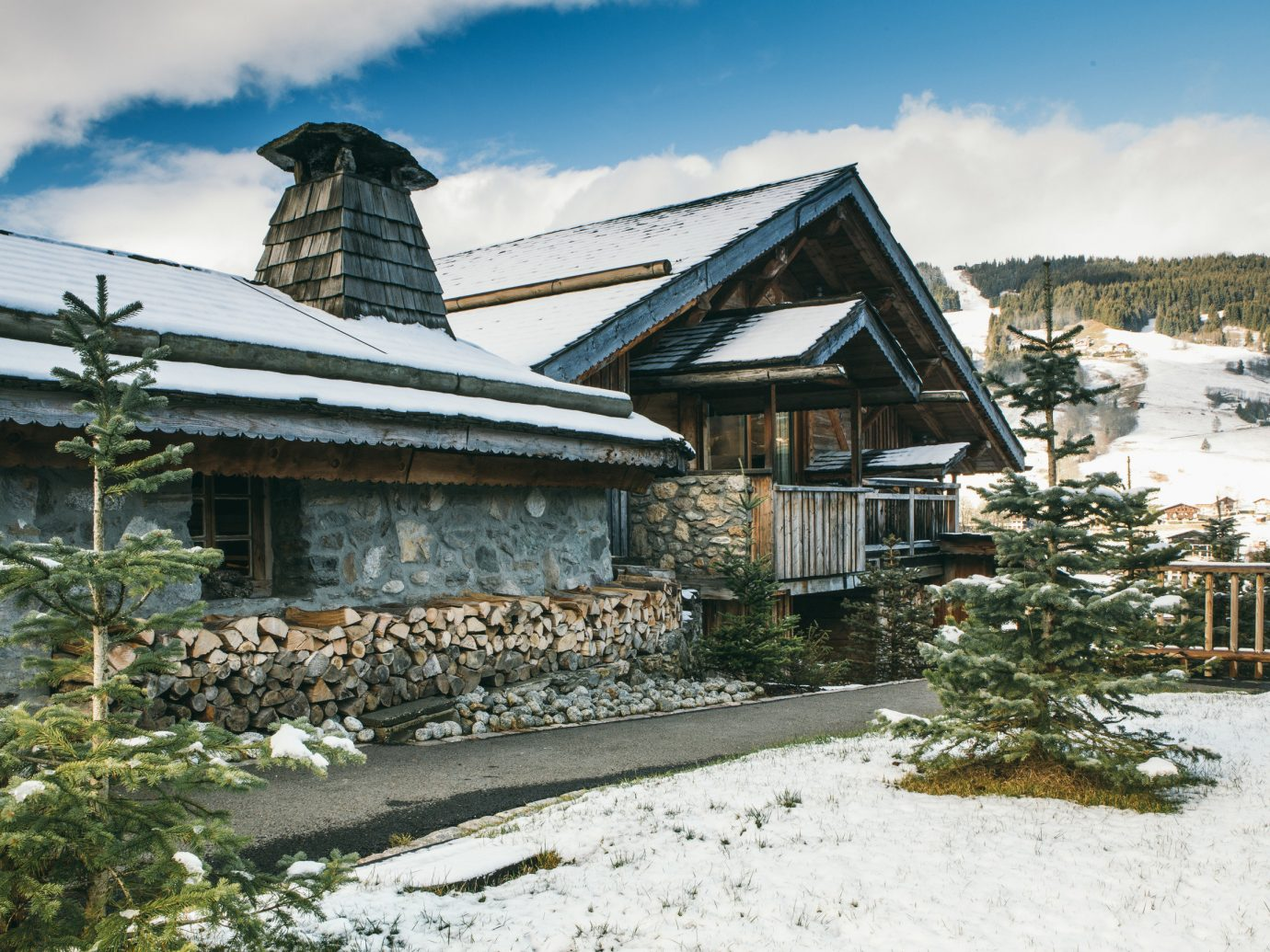 Secret Getaways Trip Ideas sky outdoor building snow Winter home house property cottage tree mountain hut log cabin real estate roof mountain range freezing landscape elevation estate old stone