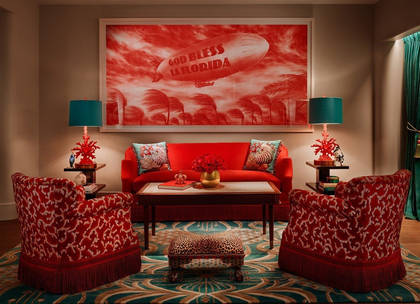 Hotels wall indoor room living room red Living interior design modern art home Design bed sheet Suite area decorated furniture