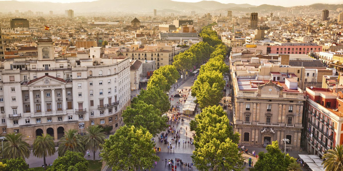 Barcelona Hotels News Spain Trip Ideas sky outdoor Town geographical feature landmark cityscape City neighbourhood human settlement urban area plaza town square aerial photography residential area metropolis Downtown ancient rome palace ancient history panorama crowd
