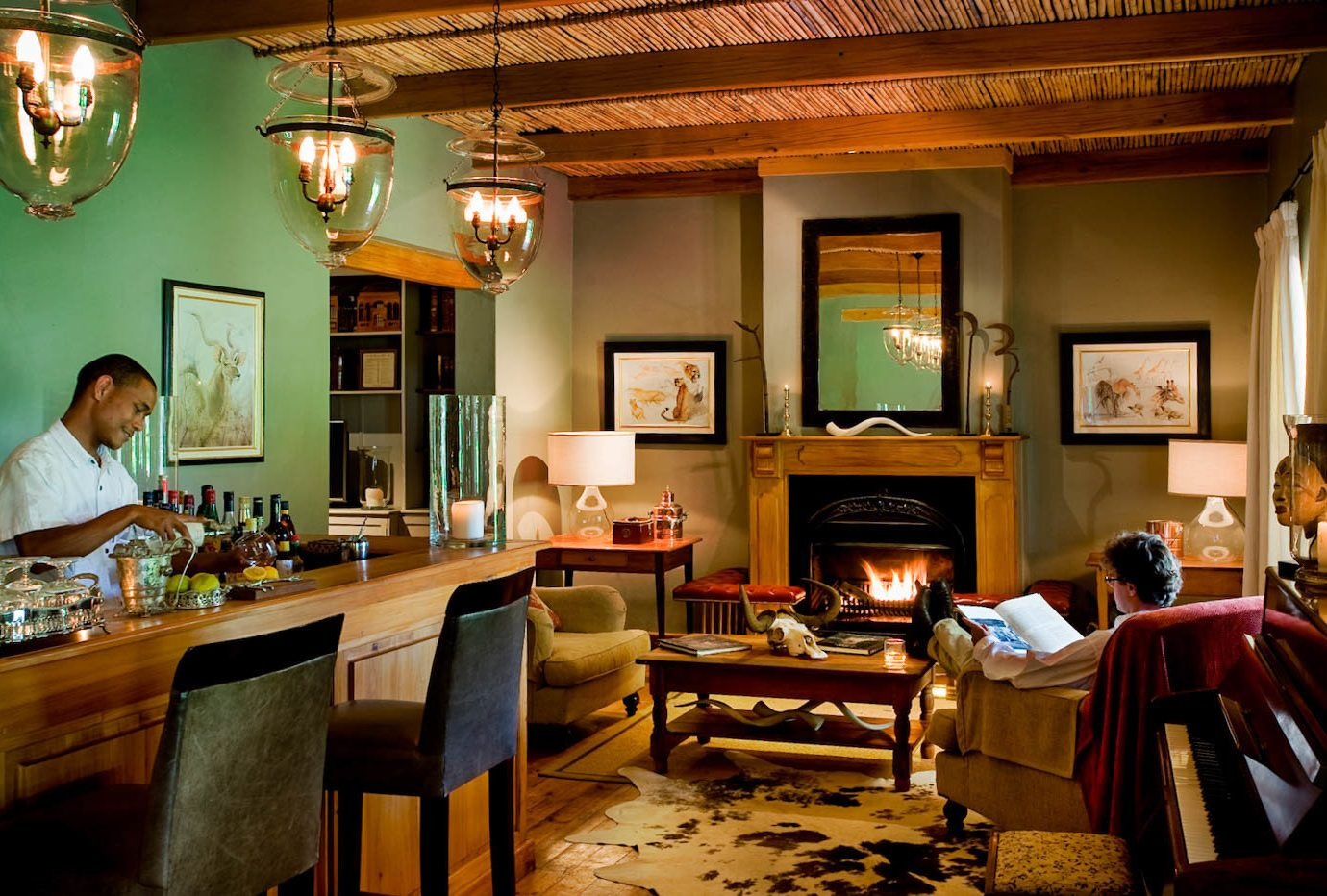 Budget indoor wall ceiling floor room home restaurant estate interior design living room recreation room Bar cottage furniture area