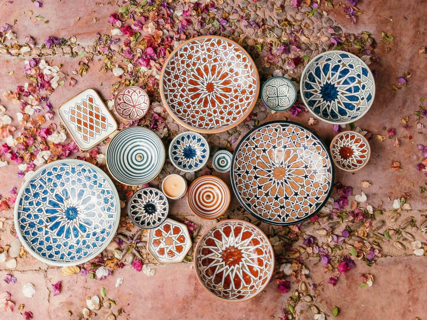 Arts + Culture Marrakech Morocco Style + Design pink outdoor many circle different plant several colored variety