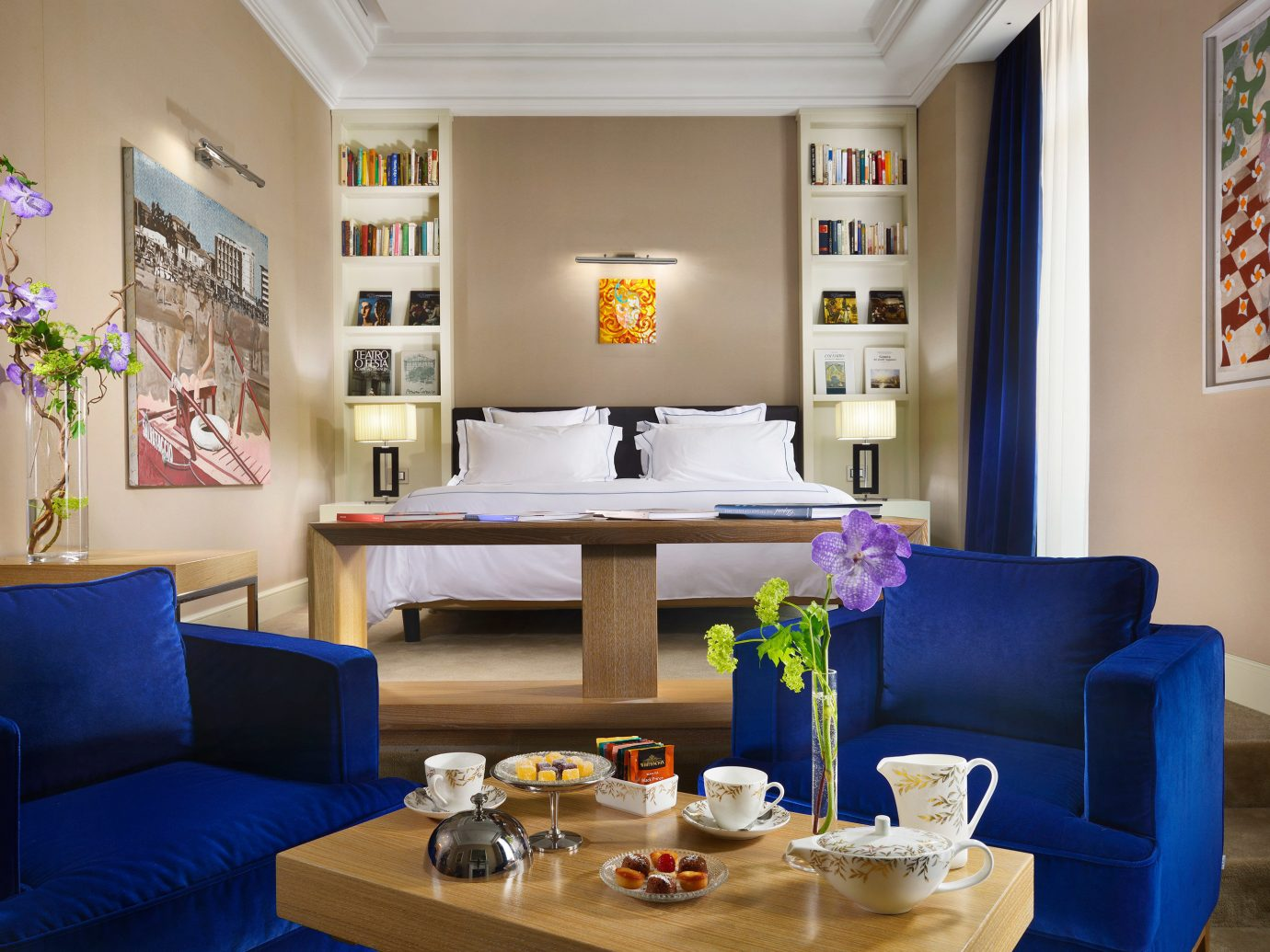 Bedroom Boutique Boutique Hotels City Eat Italy Luxury Travel Romantic Hotels Rome wall indoor table Living floor living room room property blue furniture home interior design dining room estate cottage decorated set several colored