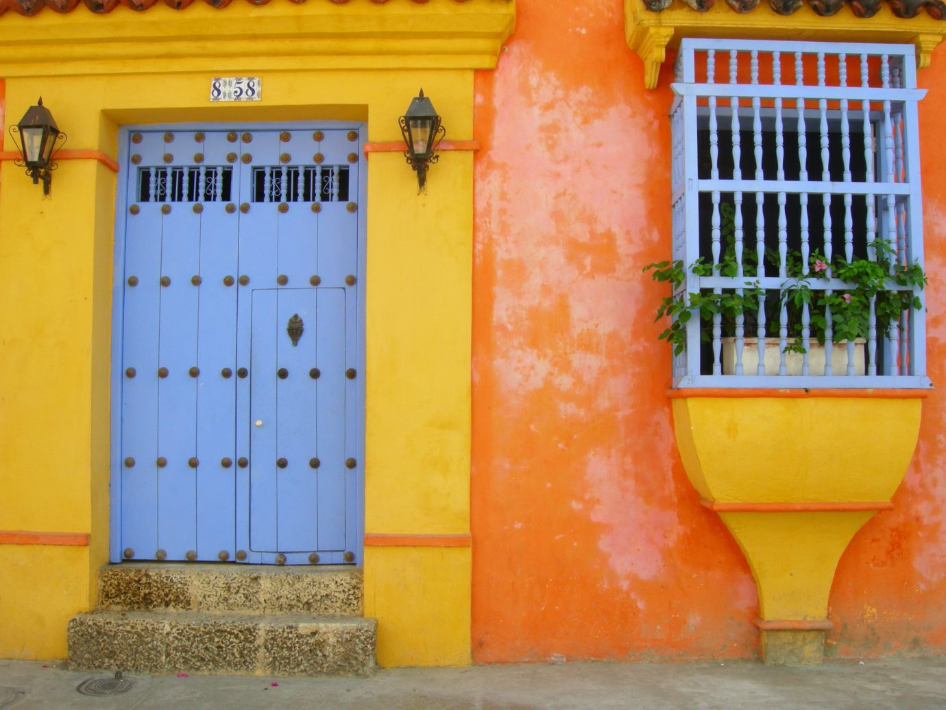 Offbeat yellow color blue outdoor orange wall colored