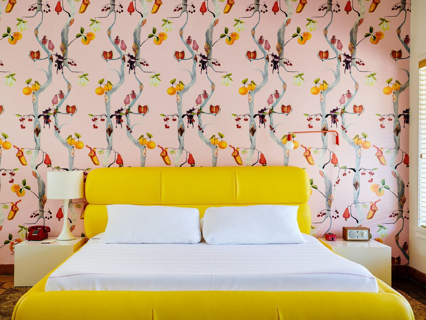 Austin Girls Getaways Texas Trip Ideas Weekend Getaways bed indoor wall yellow room interior design Bedroom bed sheet wallpaper textile bed frame decor pattern window bedclothes