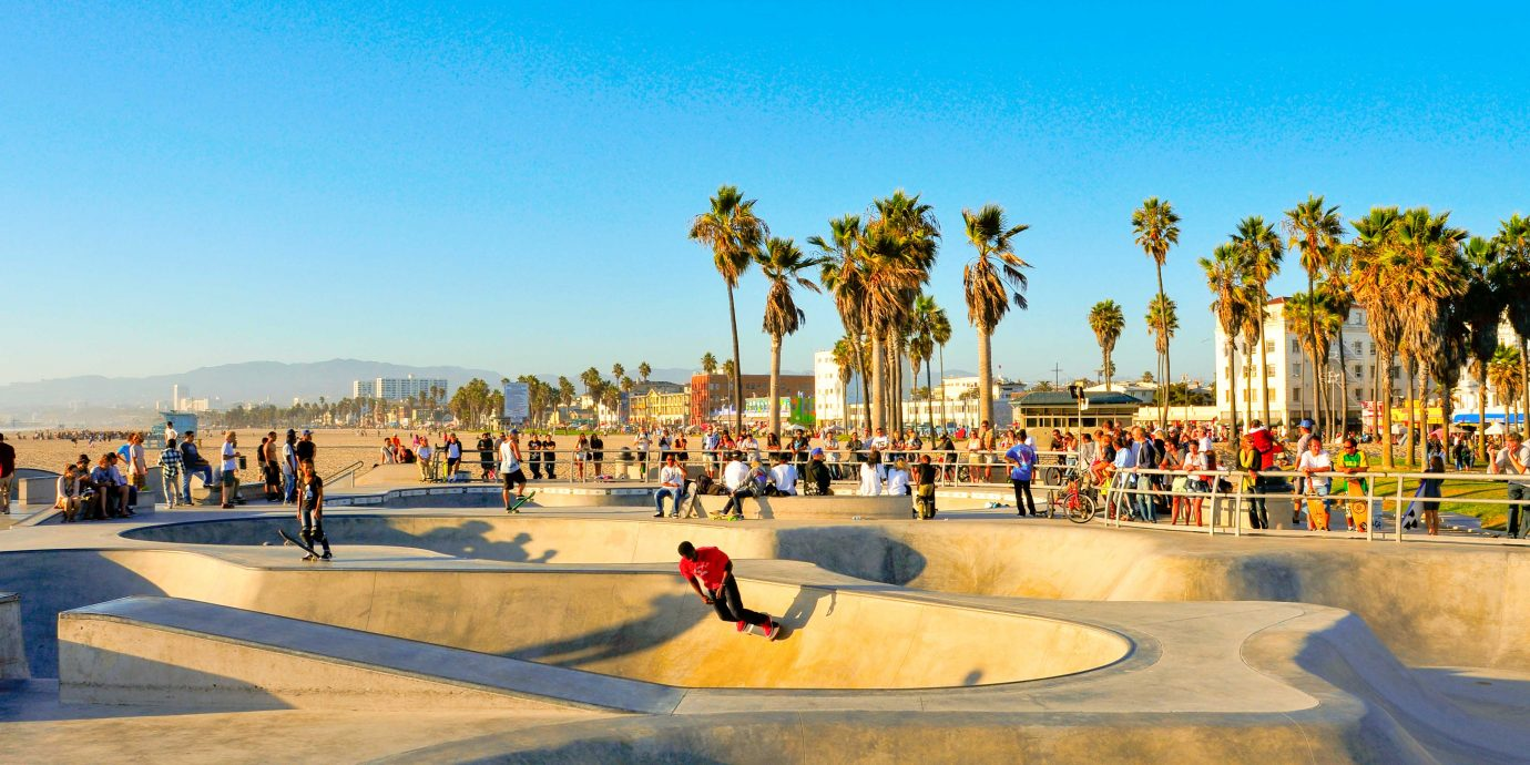"""Venice, US - October 17, 2011: Skatepark of Venice Beach in Venice, US. This skatepark, with pool, ramps, stair set and flow bowls"
