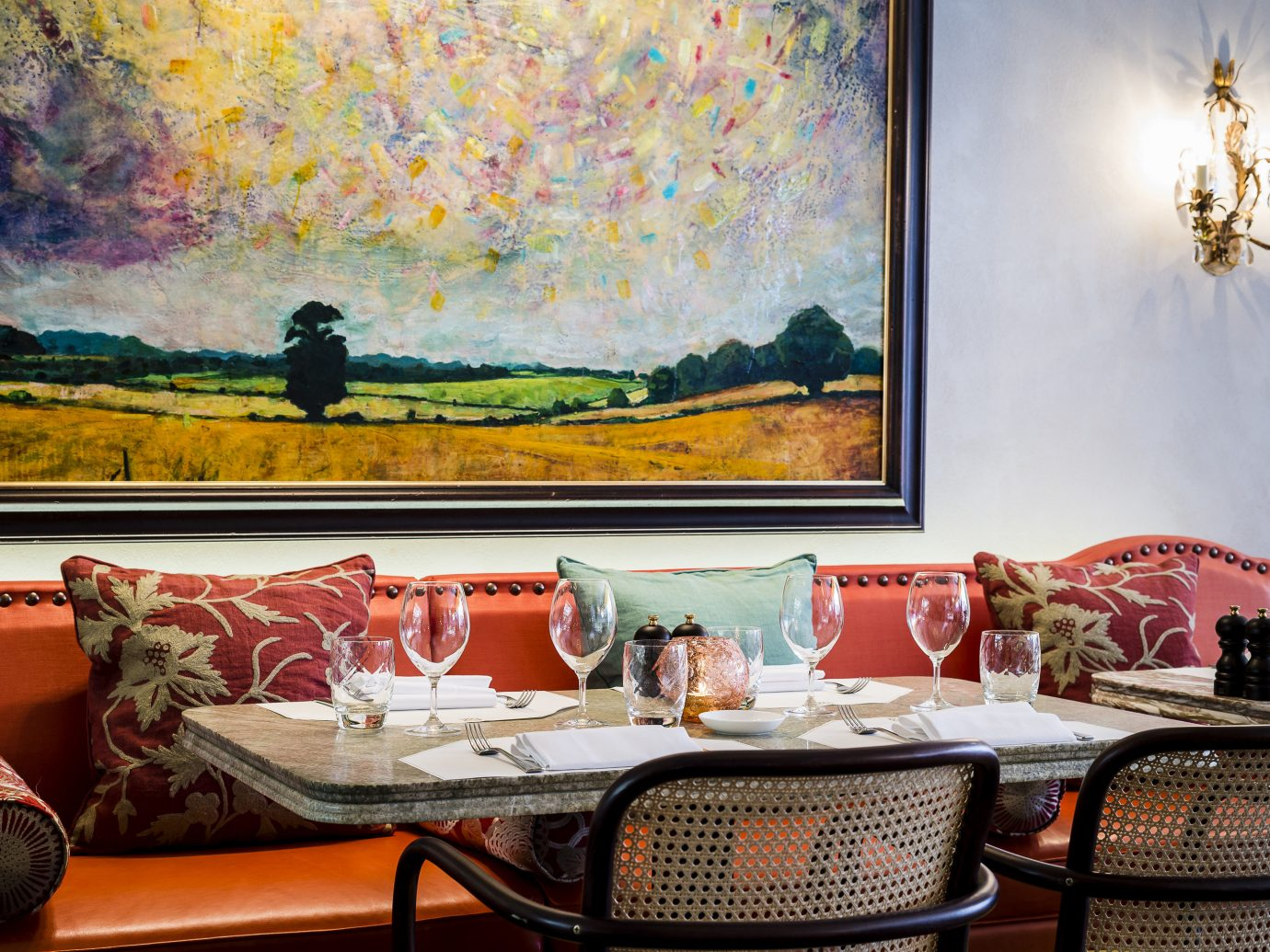 Dining Room and art at Daphne's Restaurant in Chelsea, London