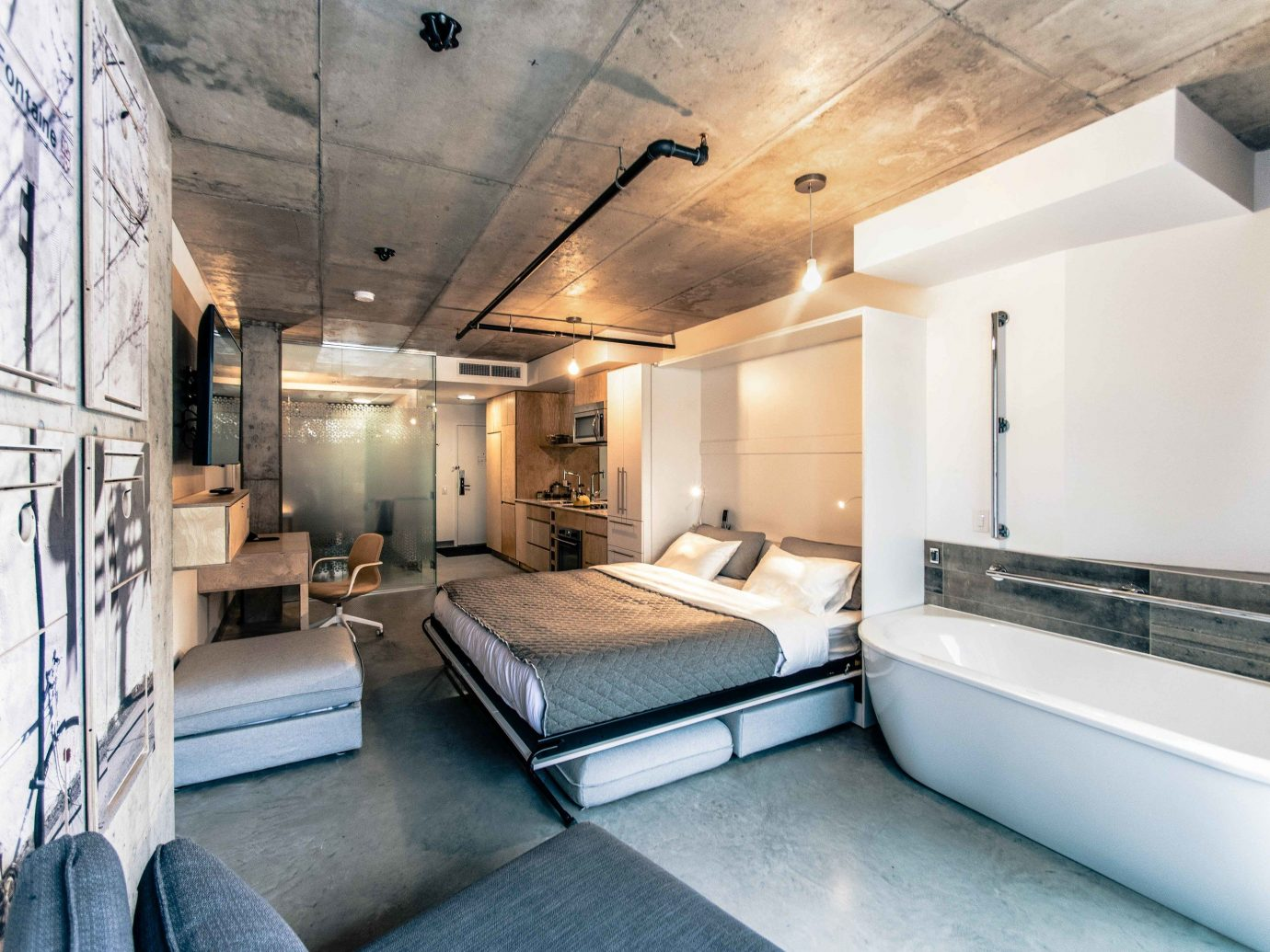 Boutique Hotels Chicago Hotels indoor floor ceiling room interior design loft Suite