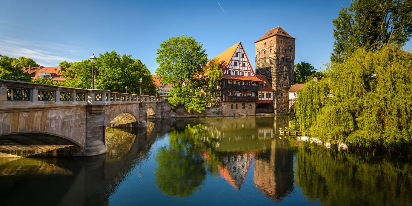Berlin europe Germany Hamburg Munich Trip Ideas reflection waterway water Nature body of water sky Canal landmark tree bridge leaf River plant bank tourist attraction City evening watercourse landscape moat Lake pond estate autumn