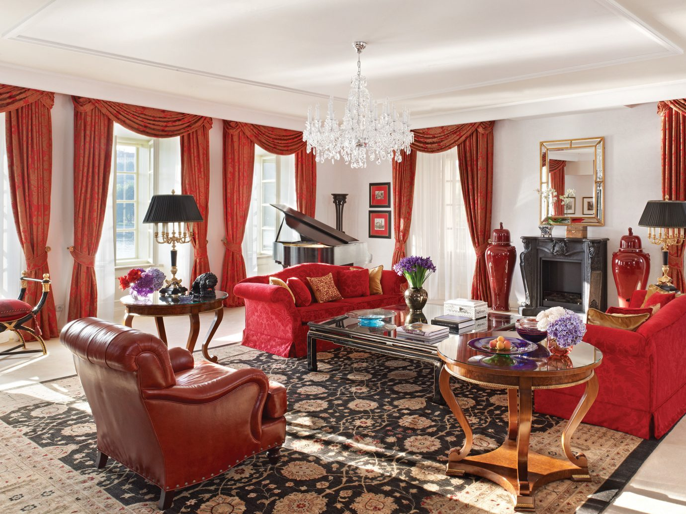 europe Hip Hotels Living Lounge Luxury Modern Prague Romantic indoor room floor wall window sofa furniture ceiling chair property living room dining room red estate home interior design real estate decorated Suite cottage rug mansion flat area Bedroom leather several