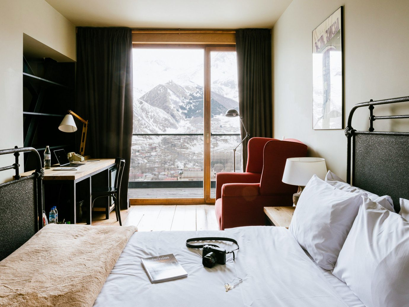 bed indoor wall hotel room window Bedroom interior design Suite furniture apartment several ski georgia country