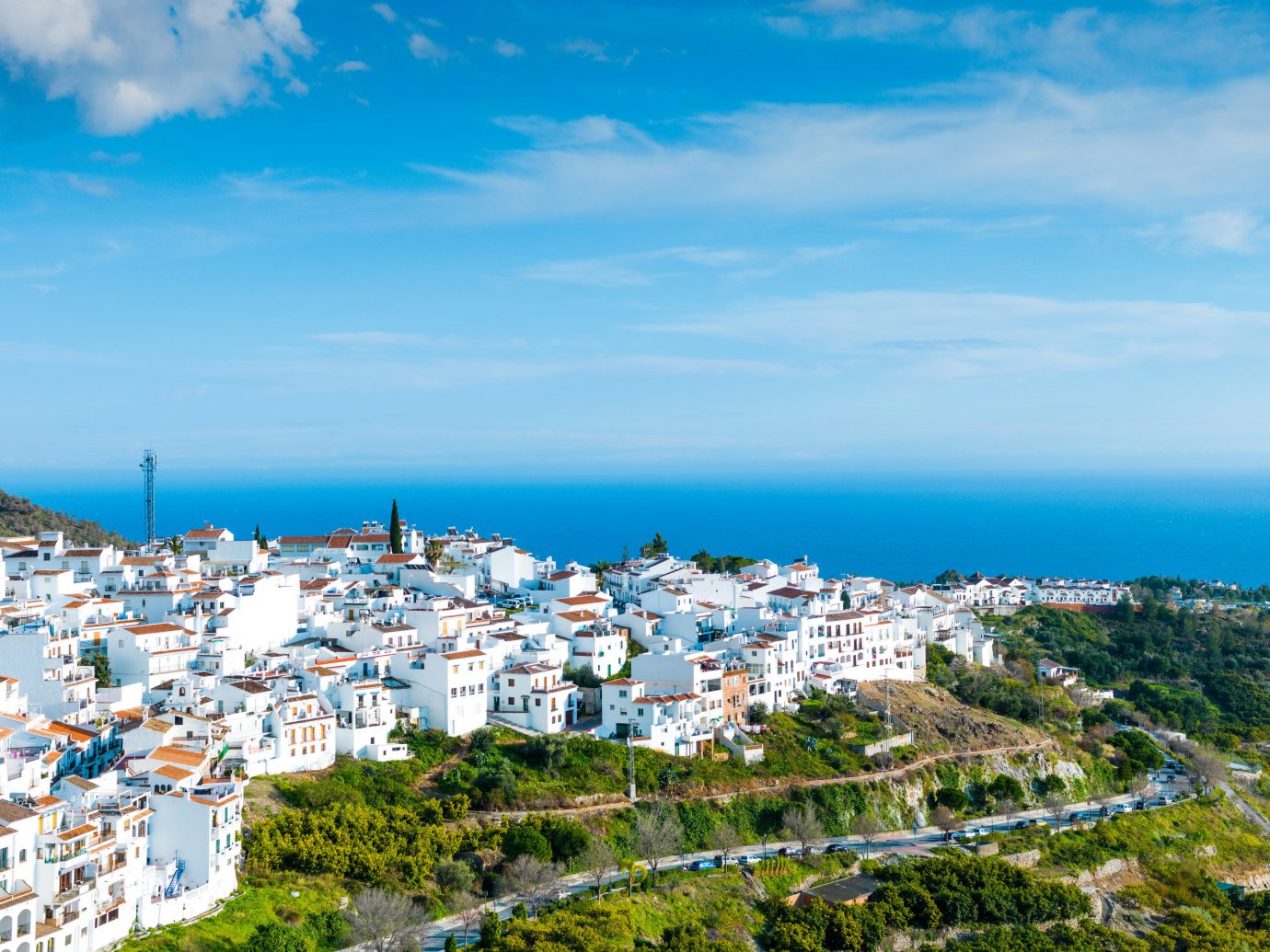 europe Spain Trip Ideas sky Sea Coast cloud promontory City Town horizon daytime Village tourism bay tree cape bird's eye view coastal and oceanic landforms Ocean mountain water mount scenery panorama
