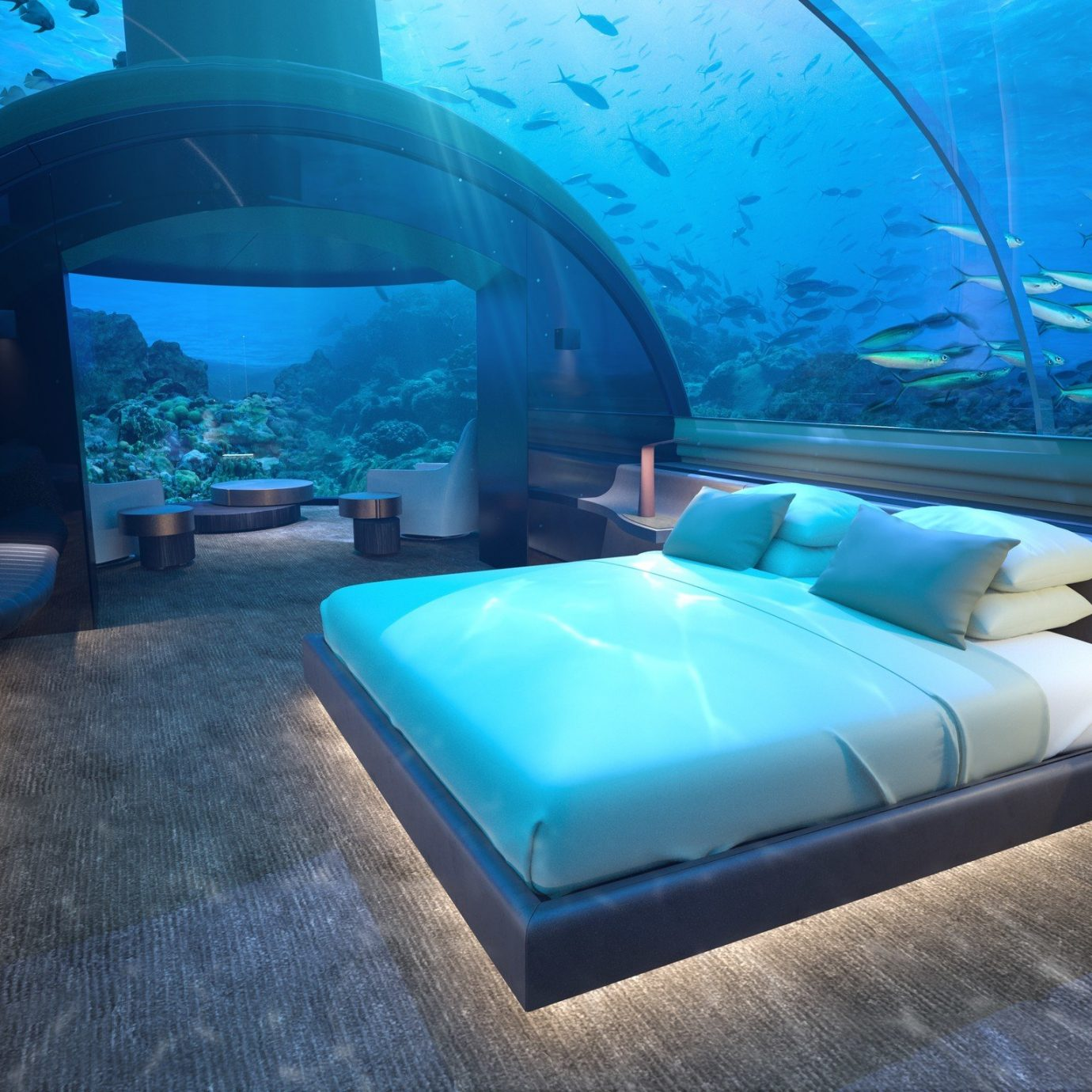 asia Beach Hotels Islands Maldives News blue underwater marine biology aquarium interior design