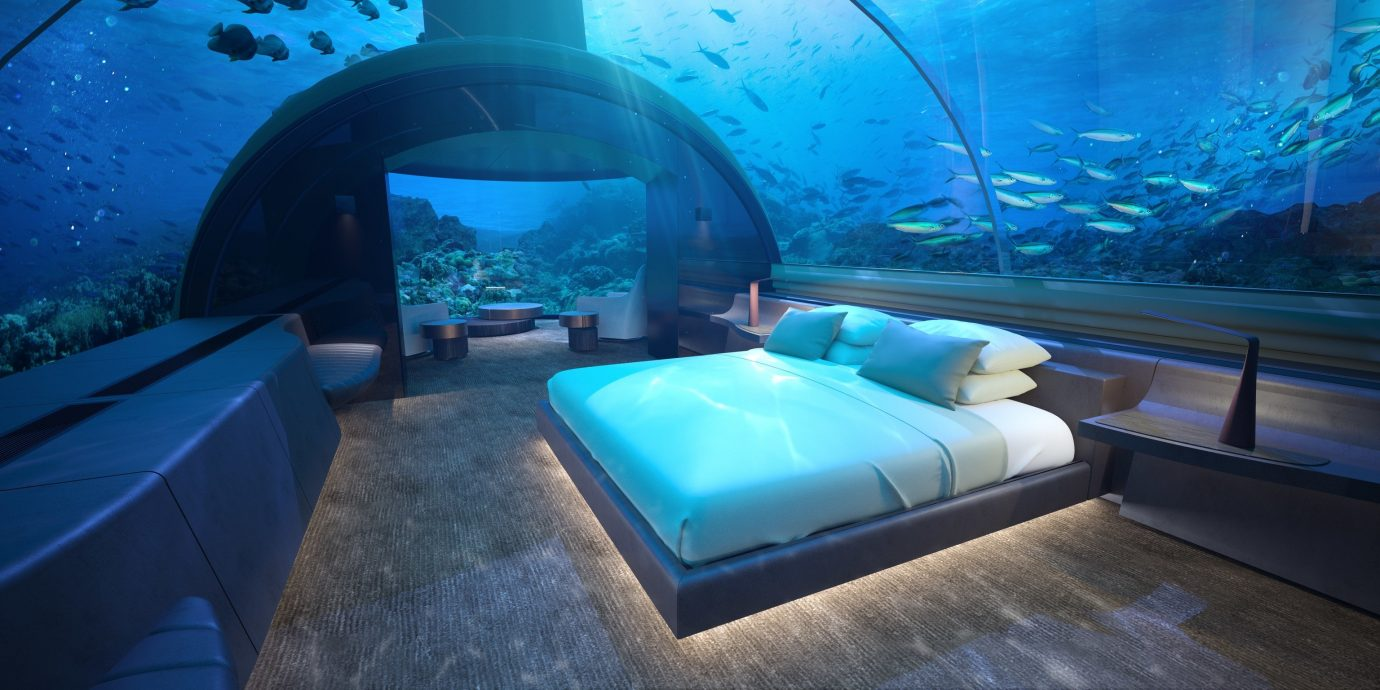 asia Beach Hotels Islands Maldives News blue underwater marine biology aquarium interior design