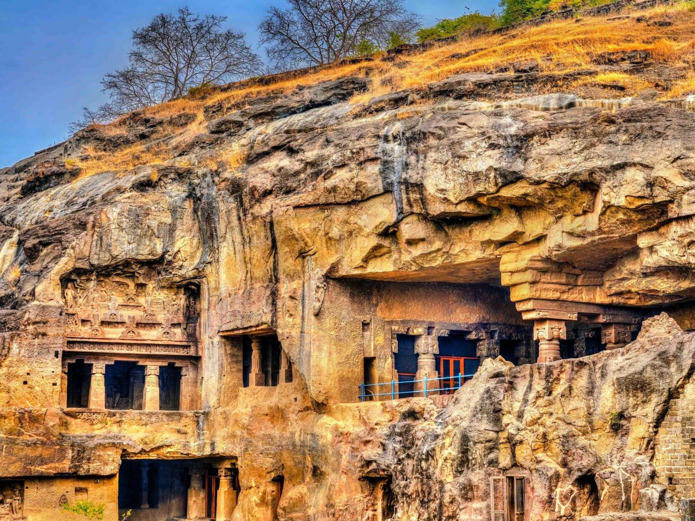 India historic site archaeological site Ruins rock bedrock outcrop formation ancient history escarpment unesco world heritage site badlands geology sky sill facade cliff