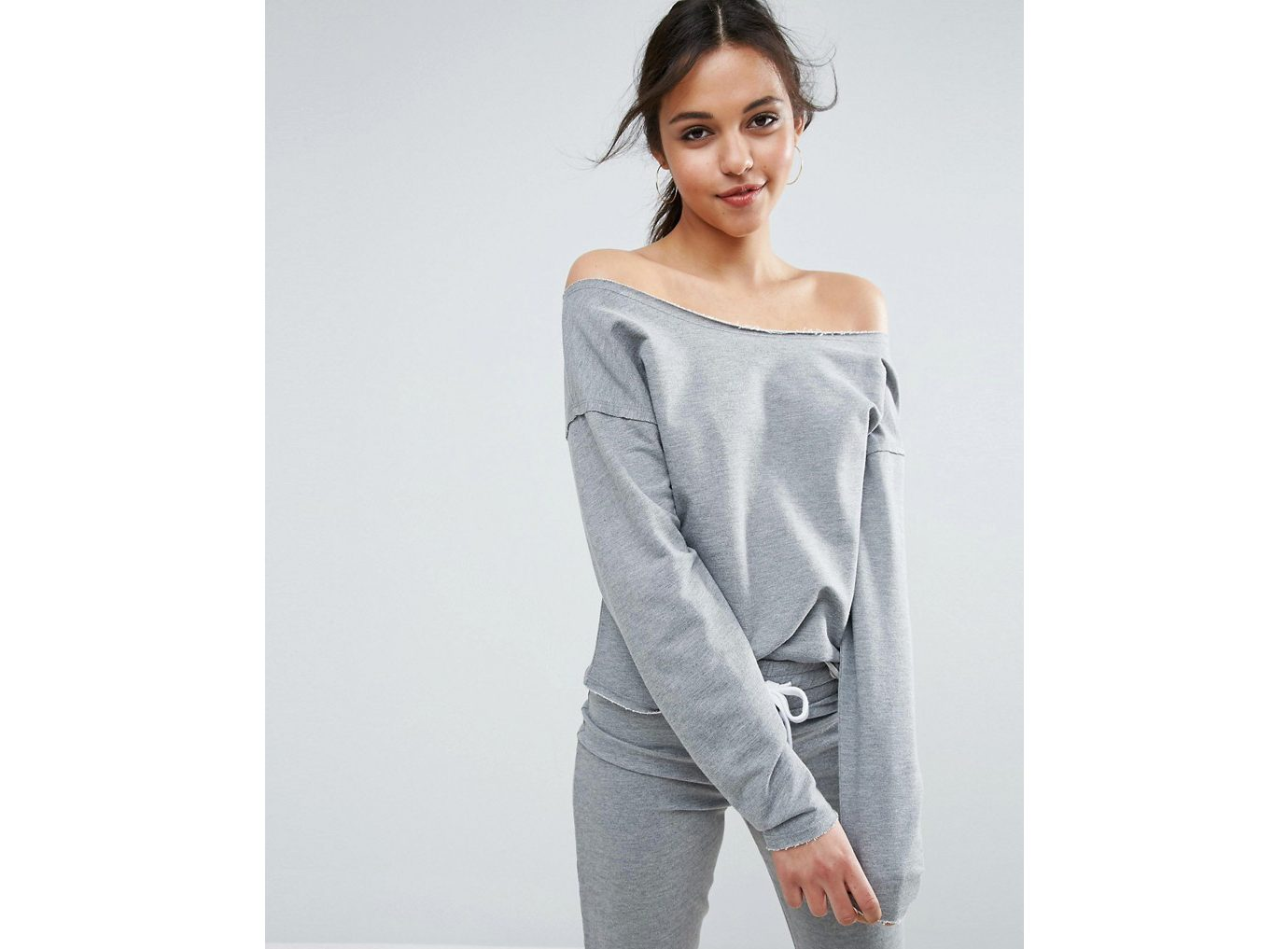 best sweatshirts, Asos Lounge Raw Edge Off Shoulder sweat