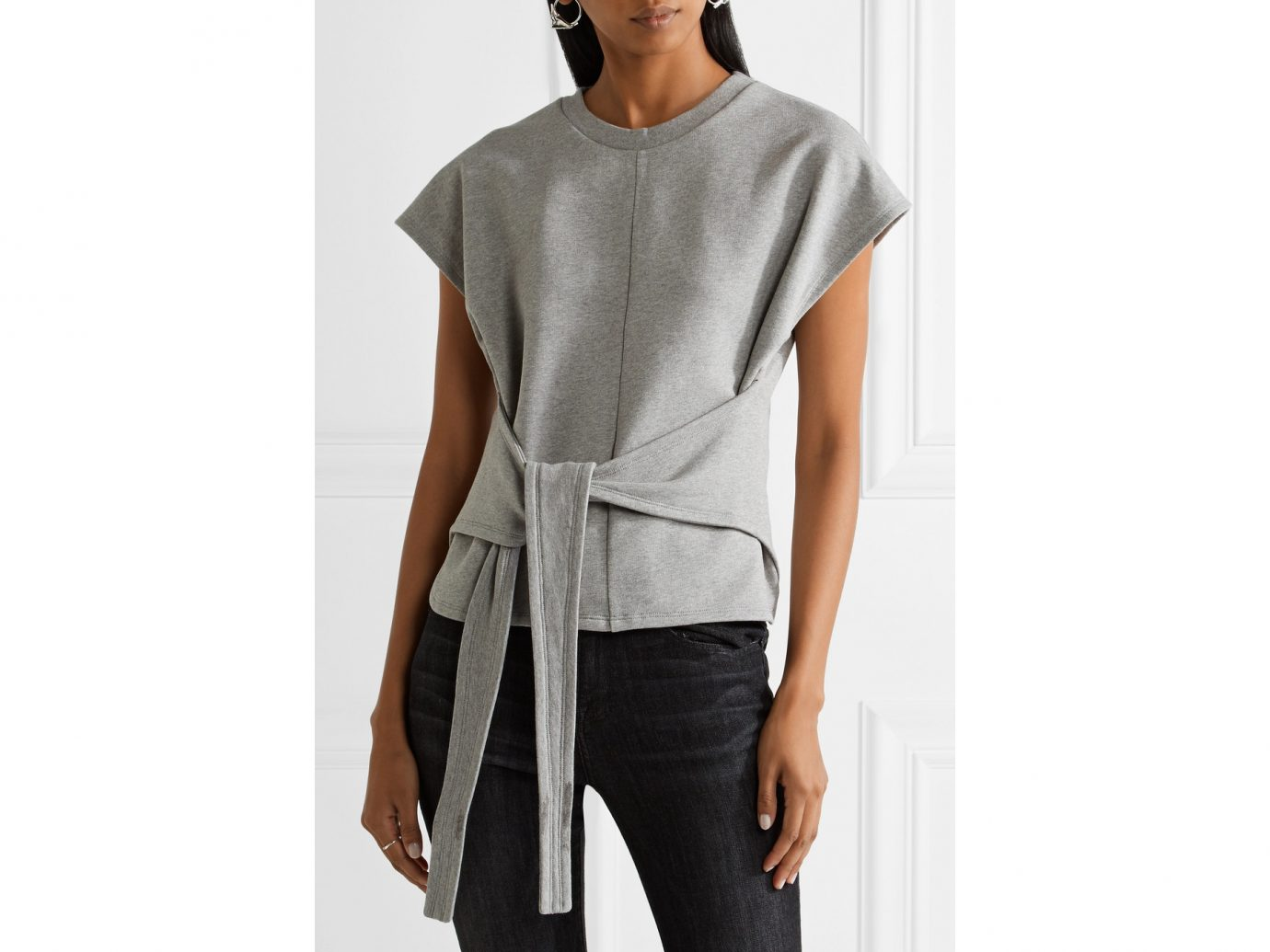 best sweatshirts, T by Alexander Wang tie-front cotton jersey top