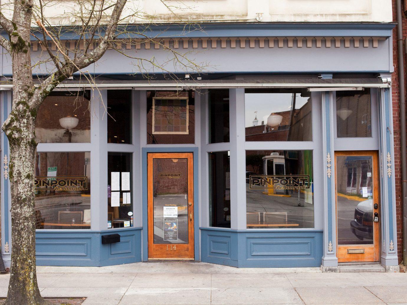 Trip Ideas building outdoor ground Architecture house facade sidewalk home interior design window restaurant store curb