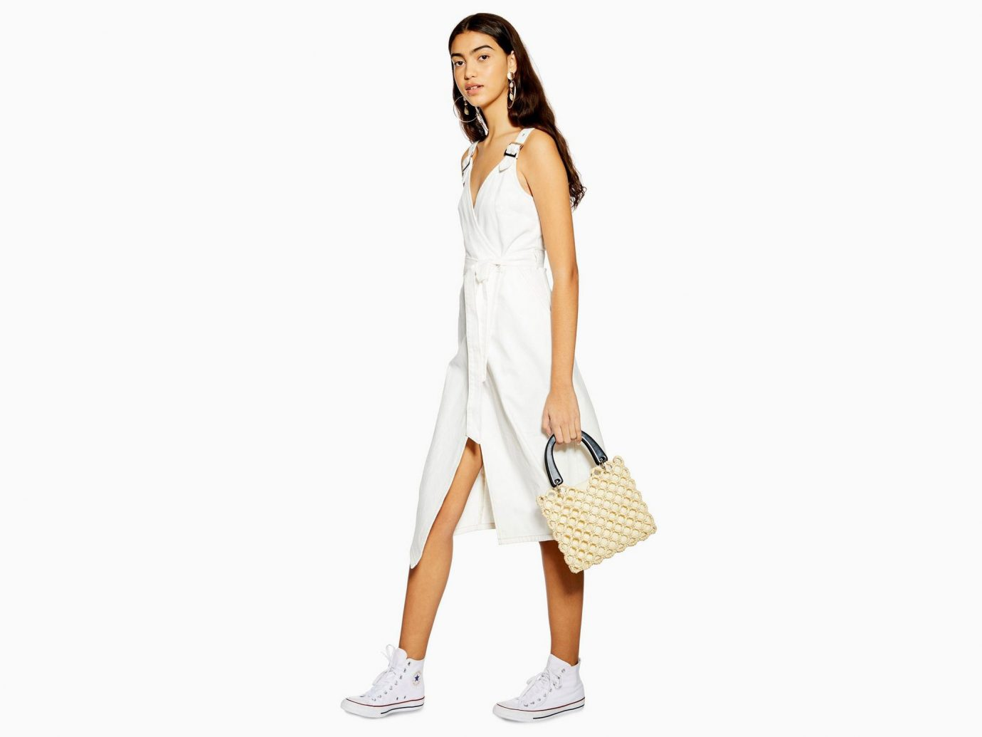 Topshop Buckle Wrap Midi Dress
