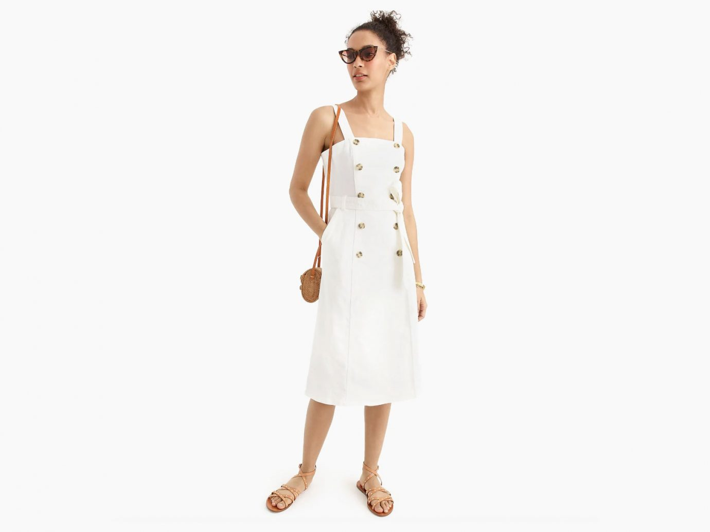 J.Crew Button-Front Trench Dress in Stretch White Denim