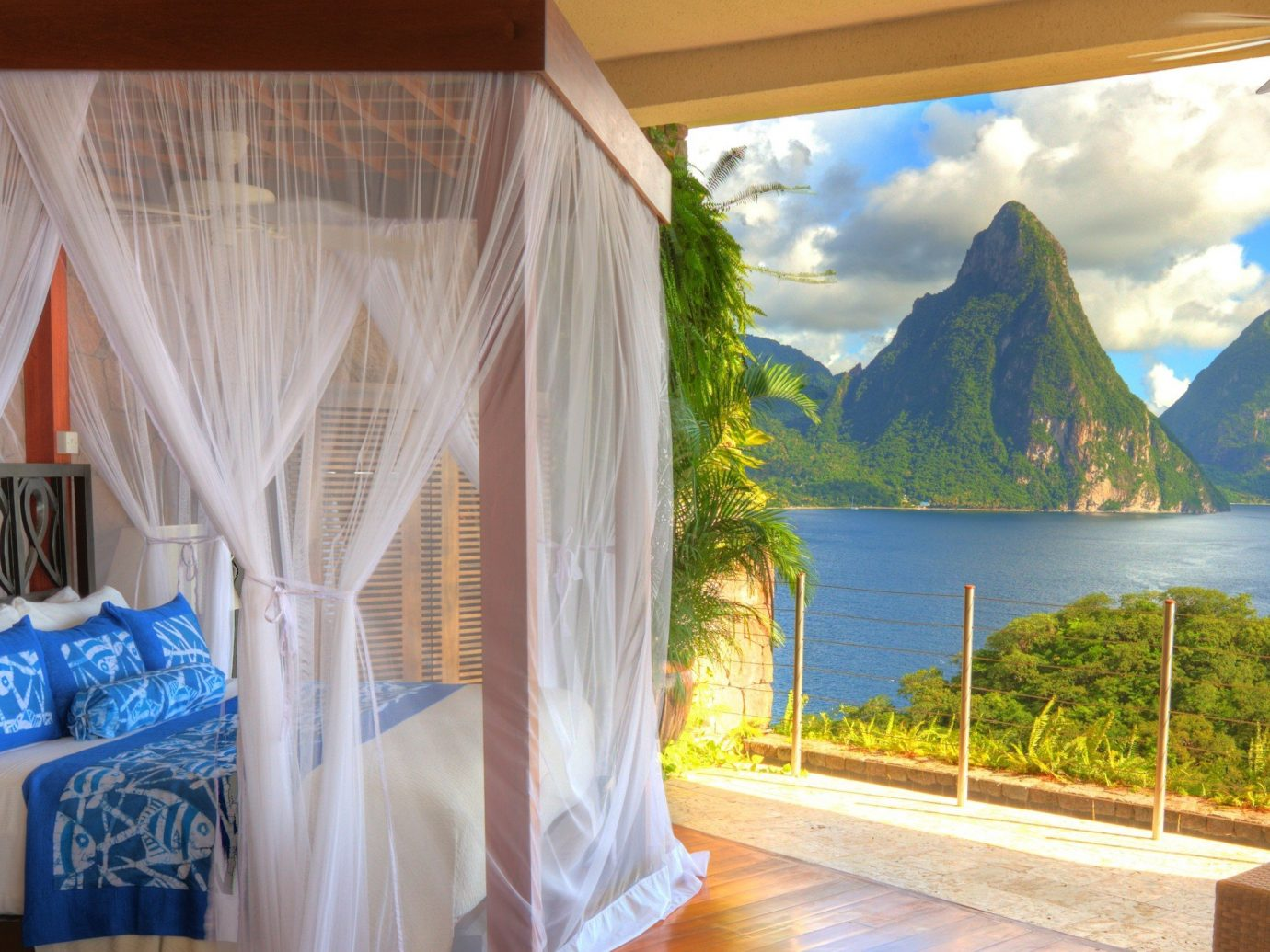 Bedroom with a view at Jade Mountain Resort, St. Lucia, Caribbean