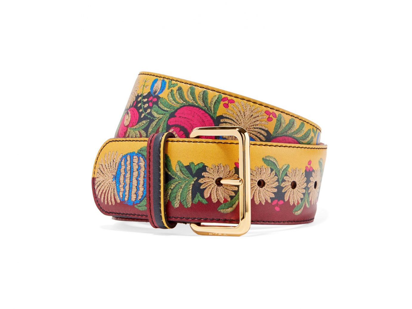 Etro Printed leather waist belt