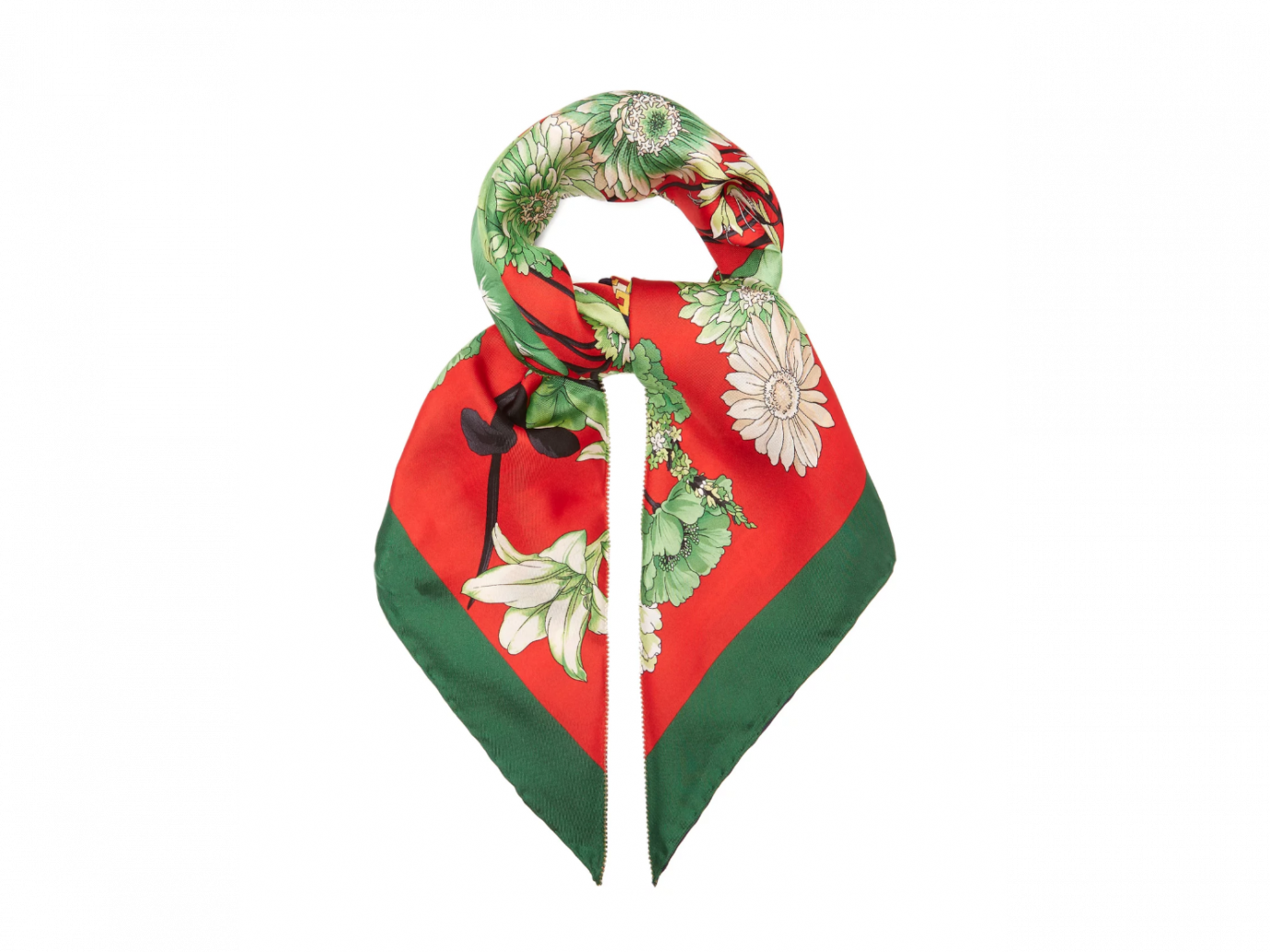 Gucci GG belts and floral bouquet-print silk scarf