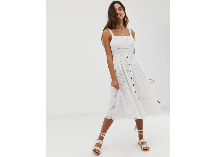 Asos Broderie Midi Sundress with Button Front