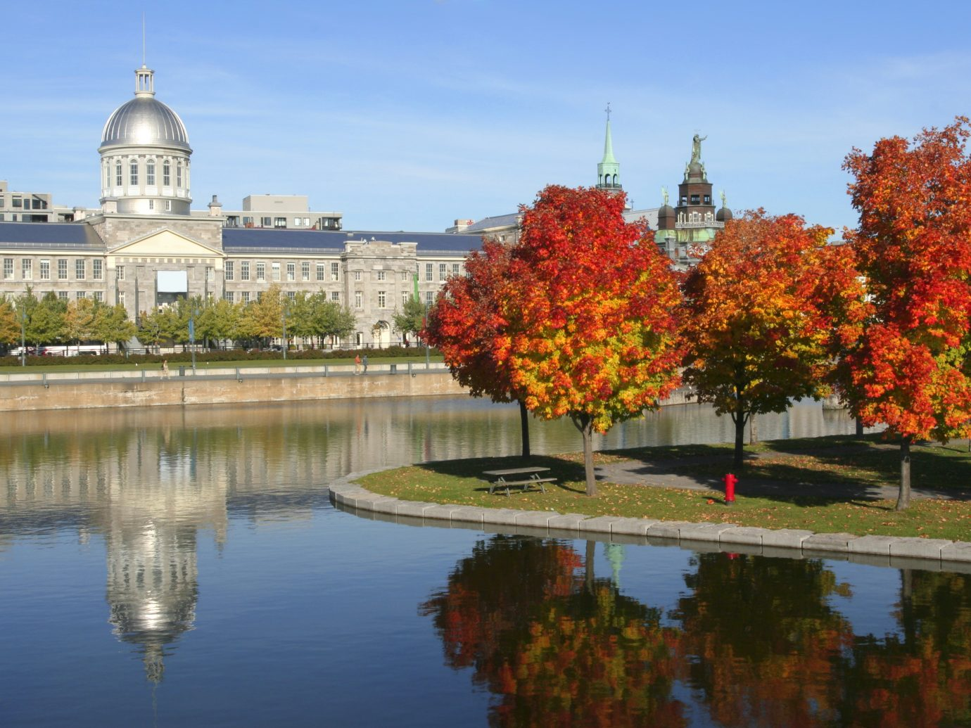 Old Montreal, Bonsecours Market relections in autumn, Quebec, Canada