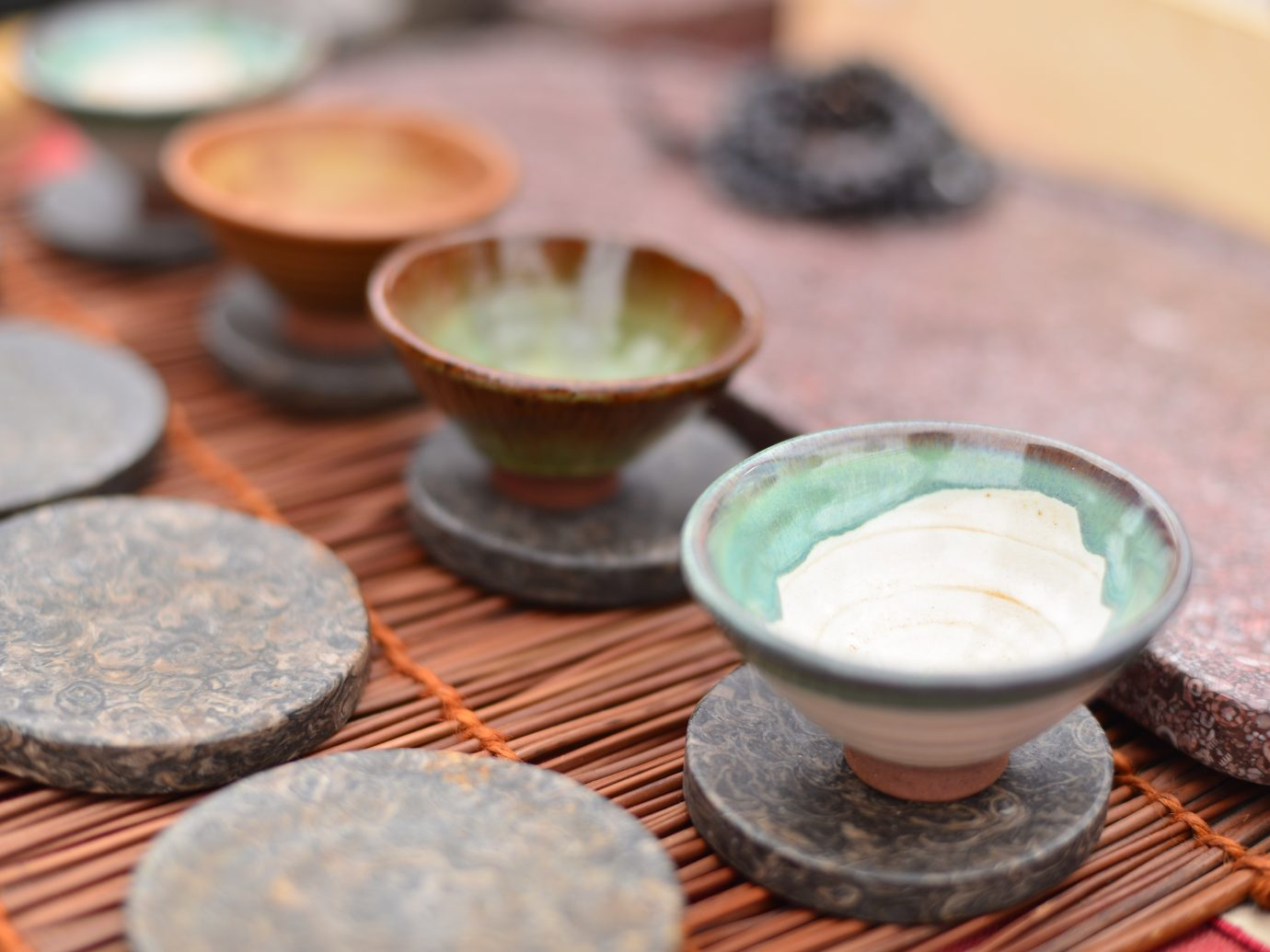 pottery tea set on market stall for sale.