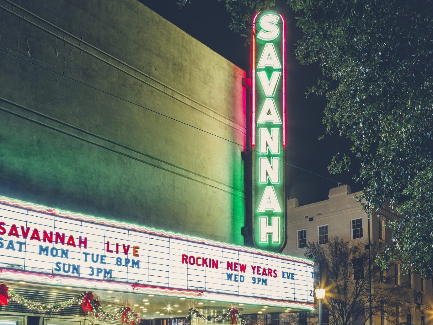 Savannah Theatre in the night after live show.