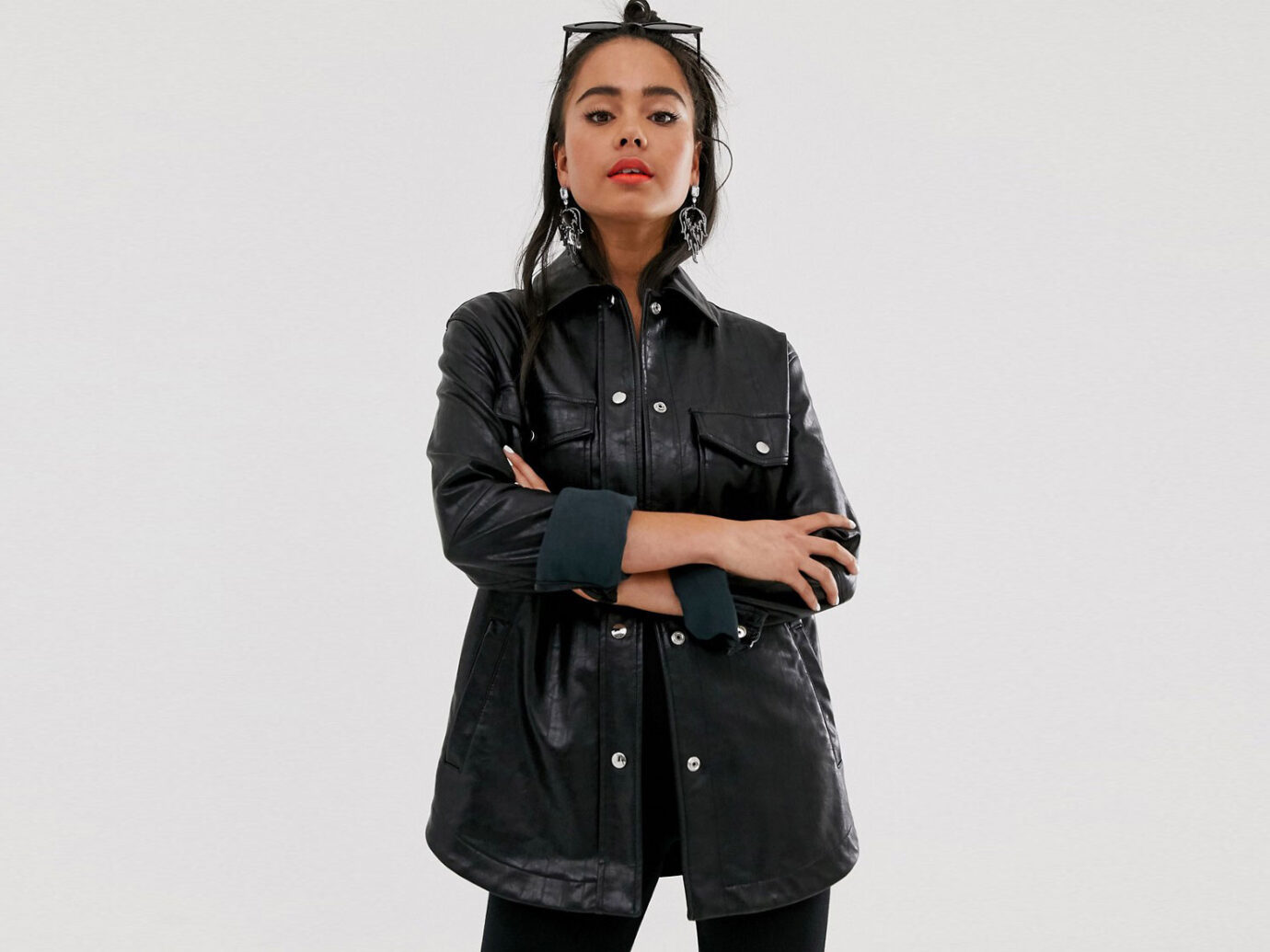 Bershka PU shacket in black