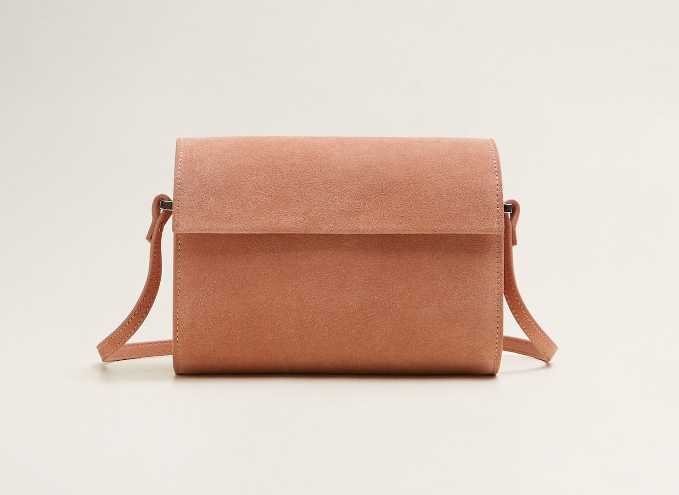 Mango Flap Leather bag in pink