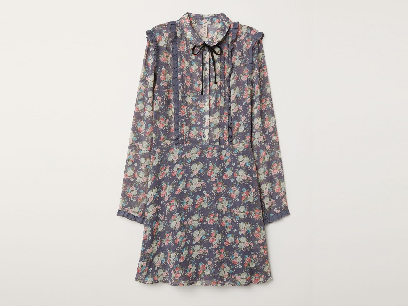 H&M Ruffled Chiffon Dress