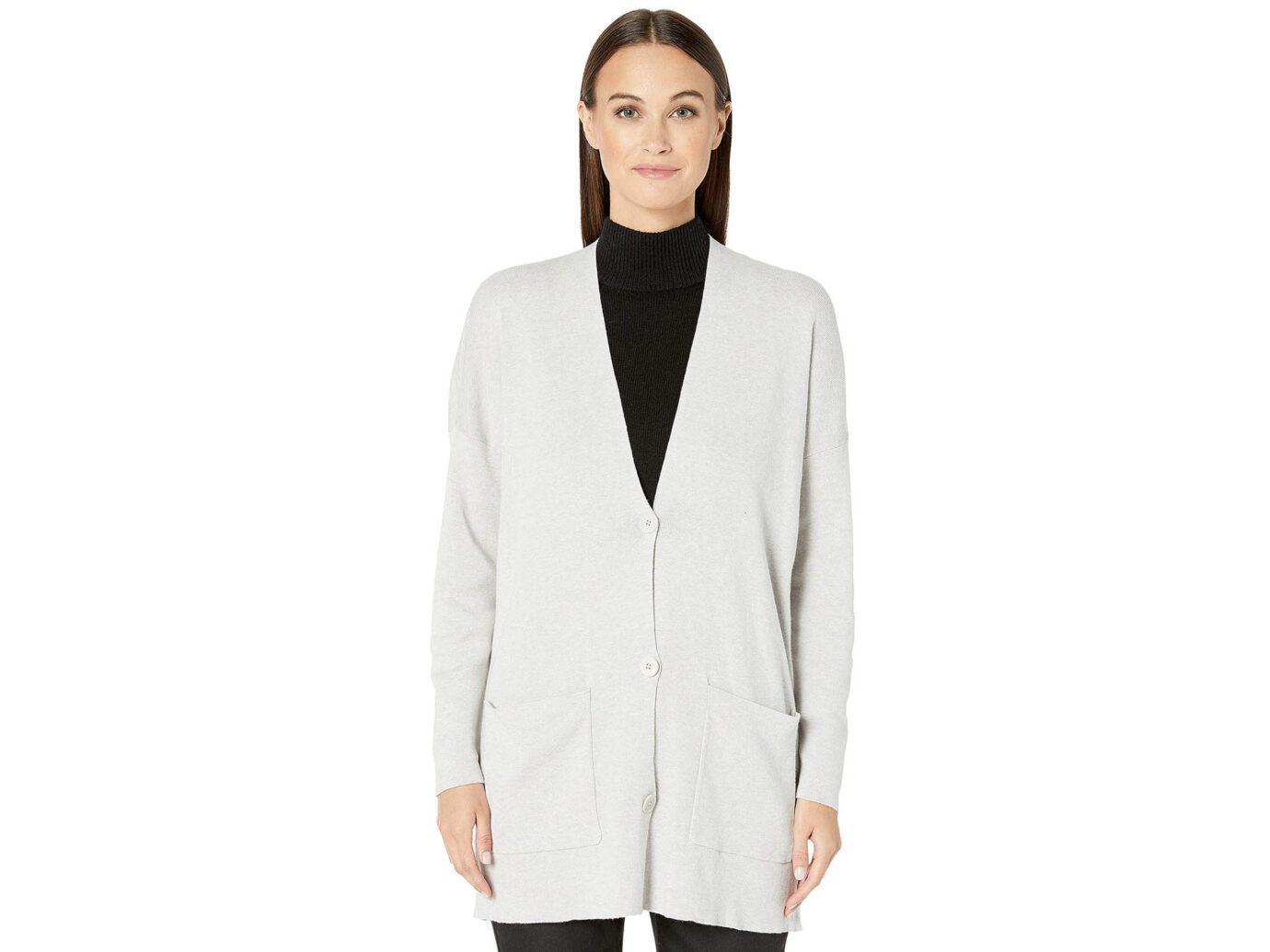 Eileen Fisher Fine Organic Cotton Silk V-Neck Boyfriend Cardigan