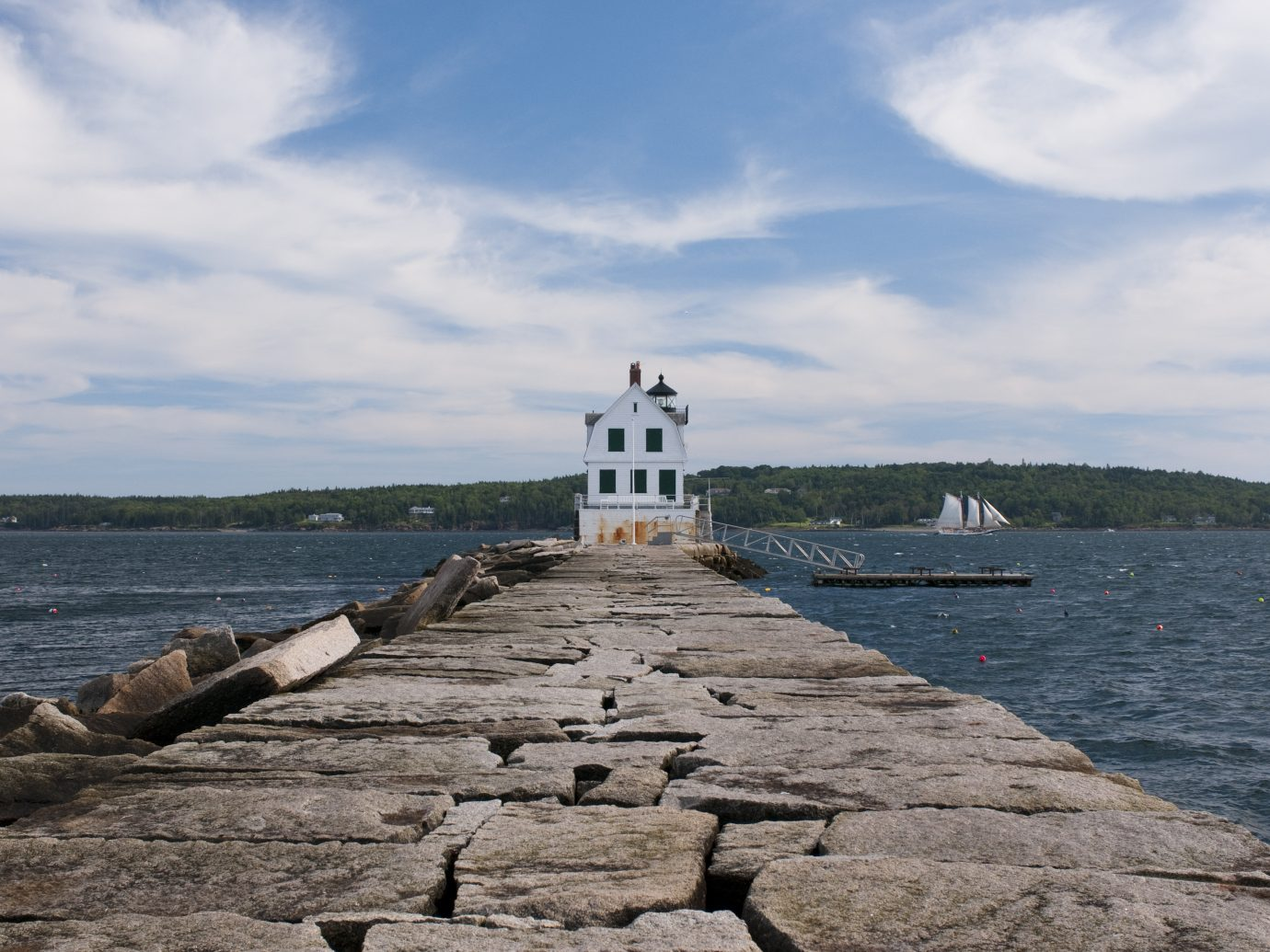 A view of the Rockland Breakwater Lighthouse seen from the breakwater on Jameson Point in Rockland, Maine.