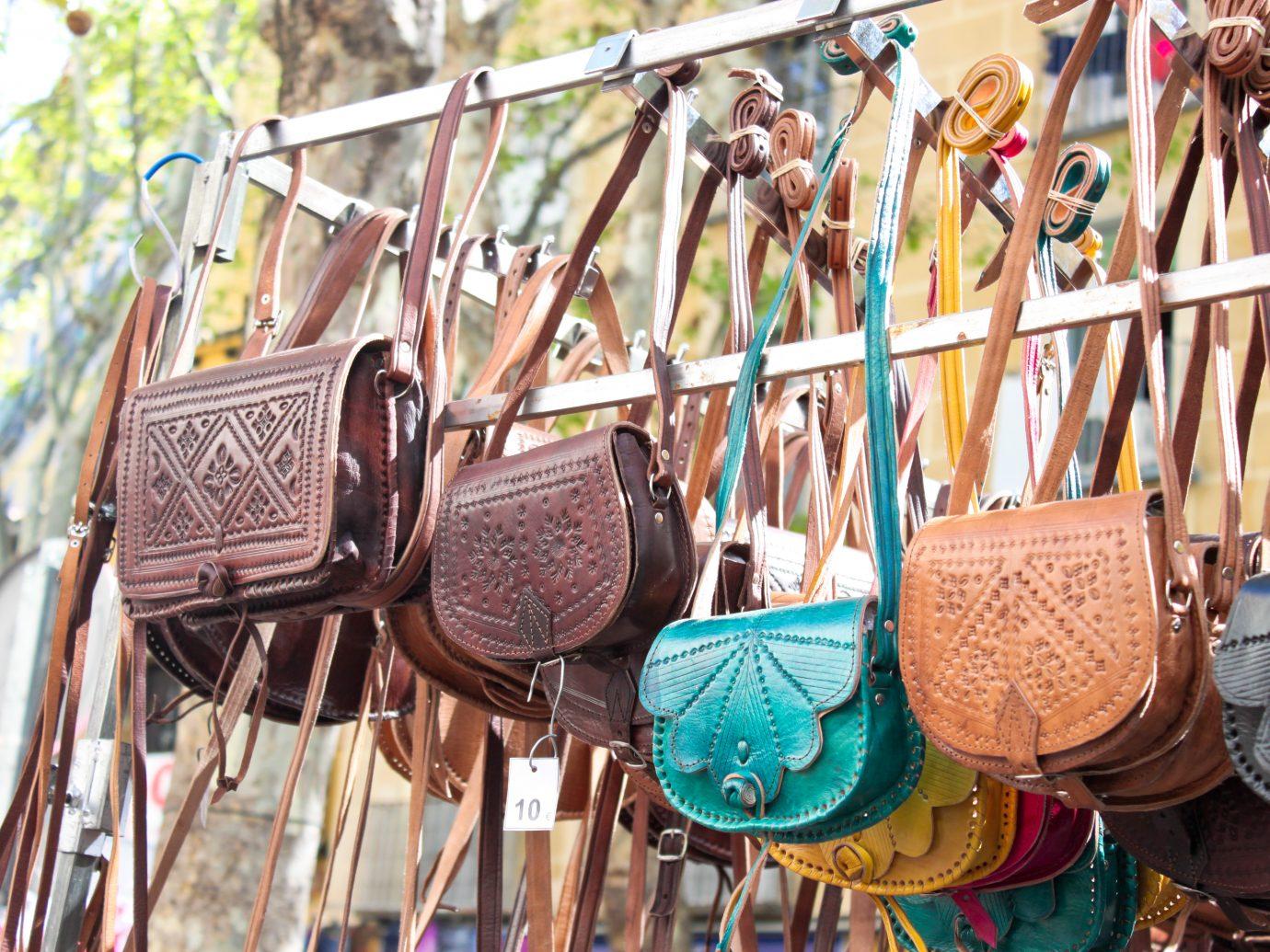 bags on a flea market in Madrid