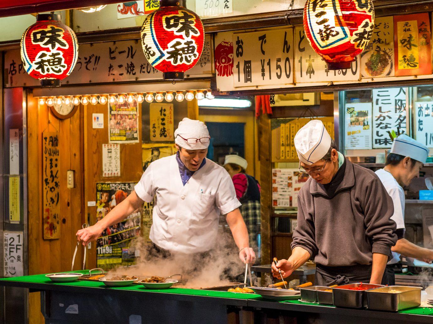traditional Japanese street food in Osaka