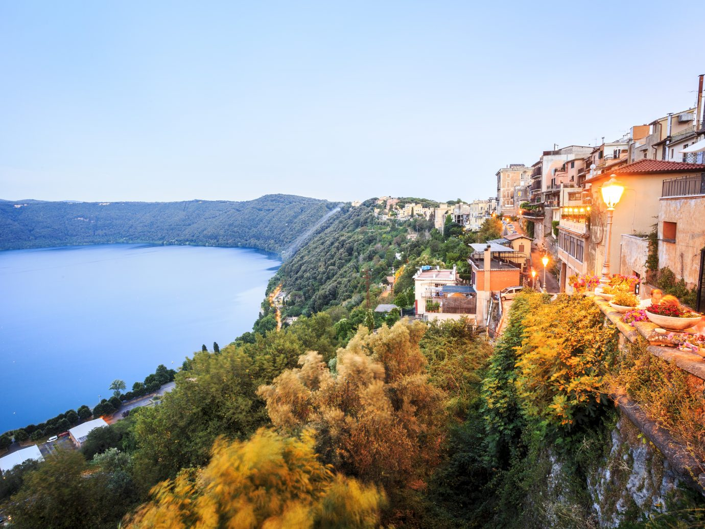 Albano Lake shore and city of Castel Gandolfo, Lazio, Italy
