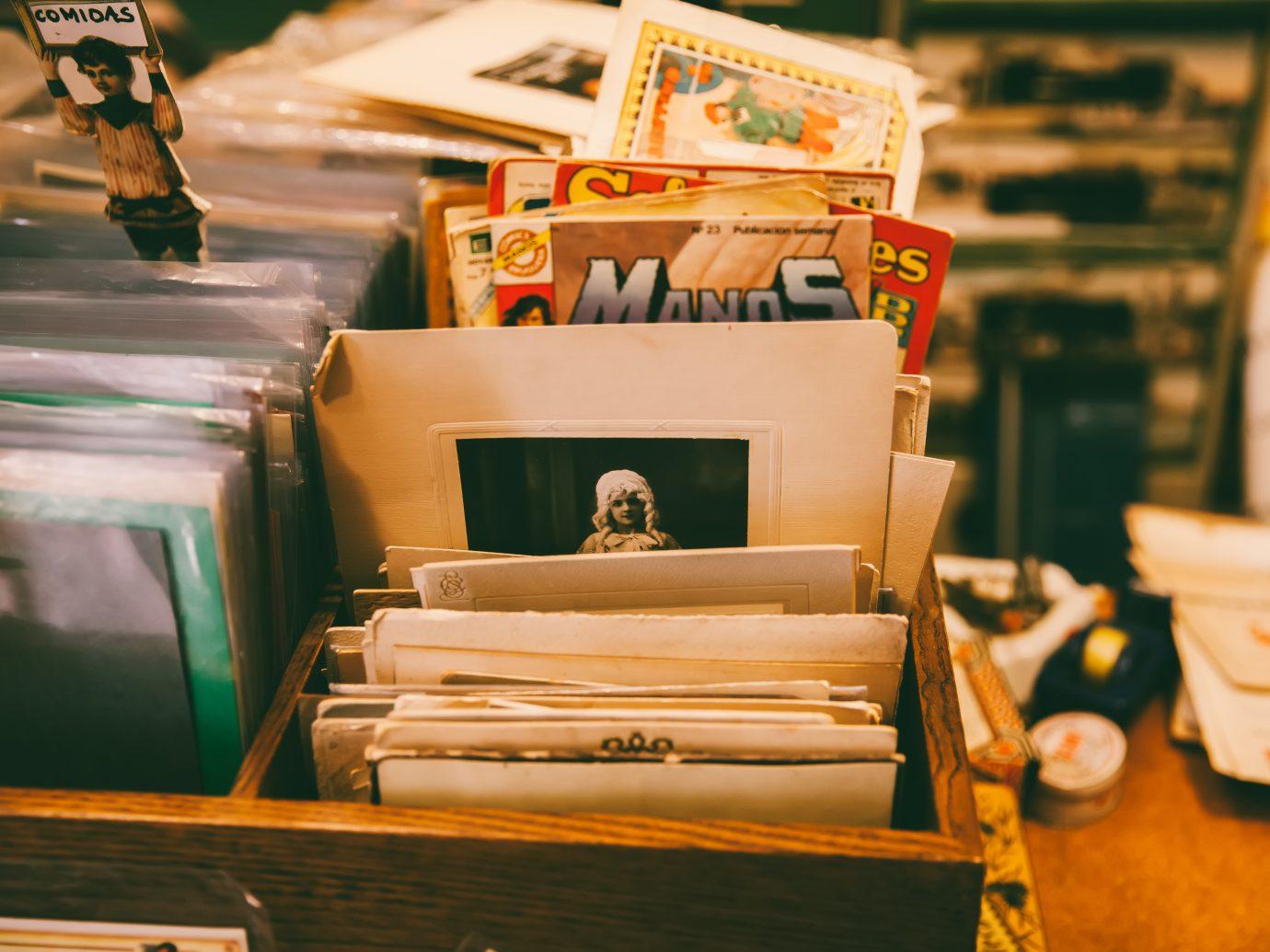 A vintage post card shop in Madrid's El Rastro market