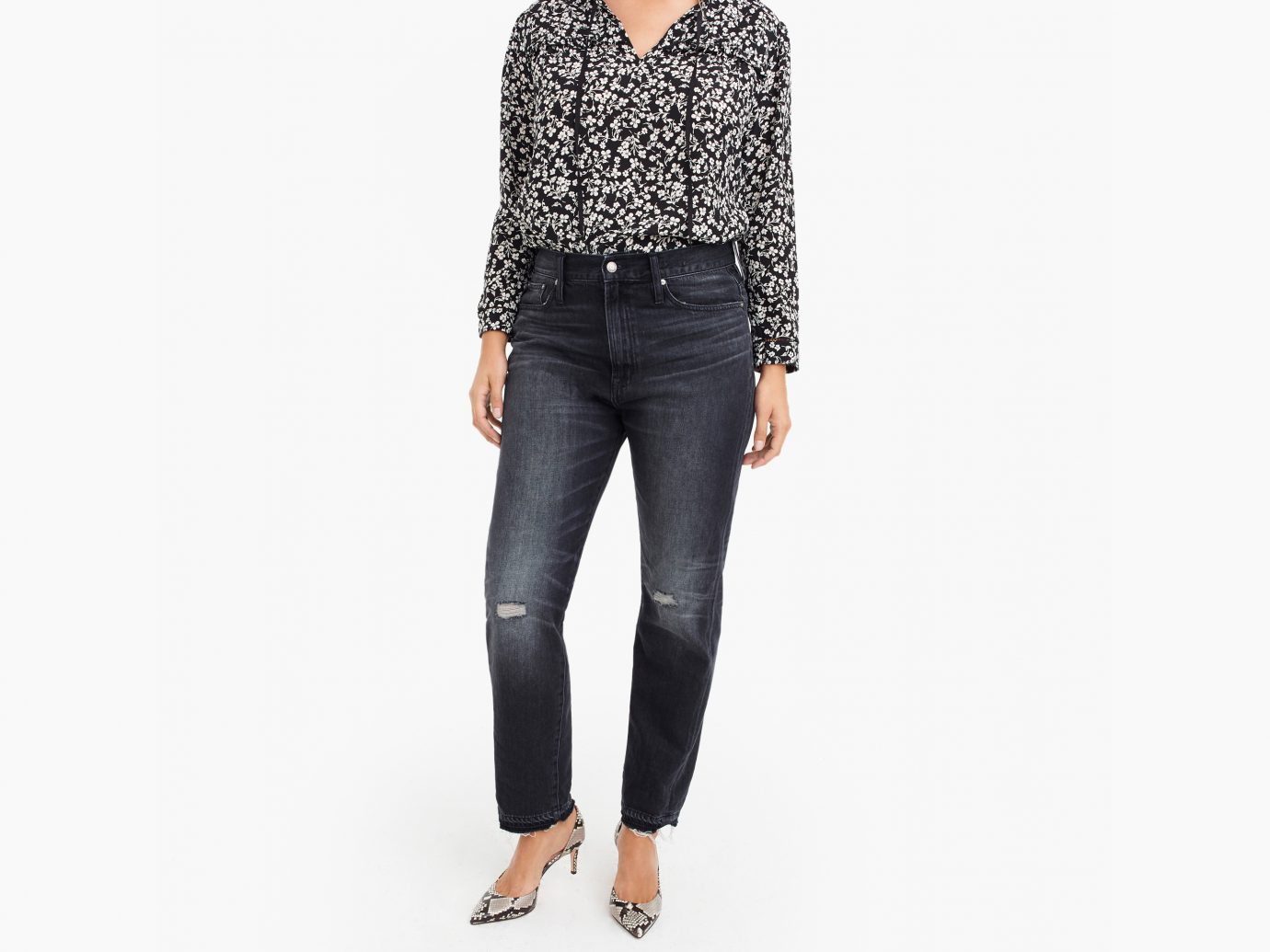 High-Rise Retro Straight Jean in Charcoal Wash