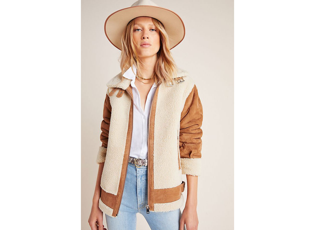 Lamarque Colby Moto Sherpa Jacket