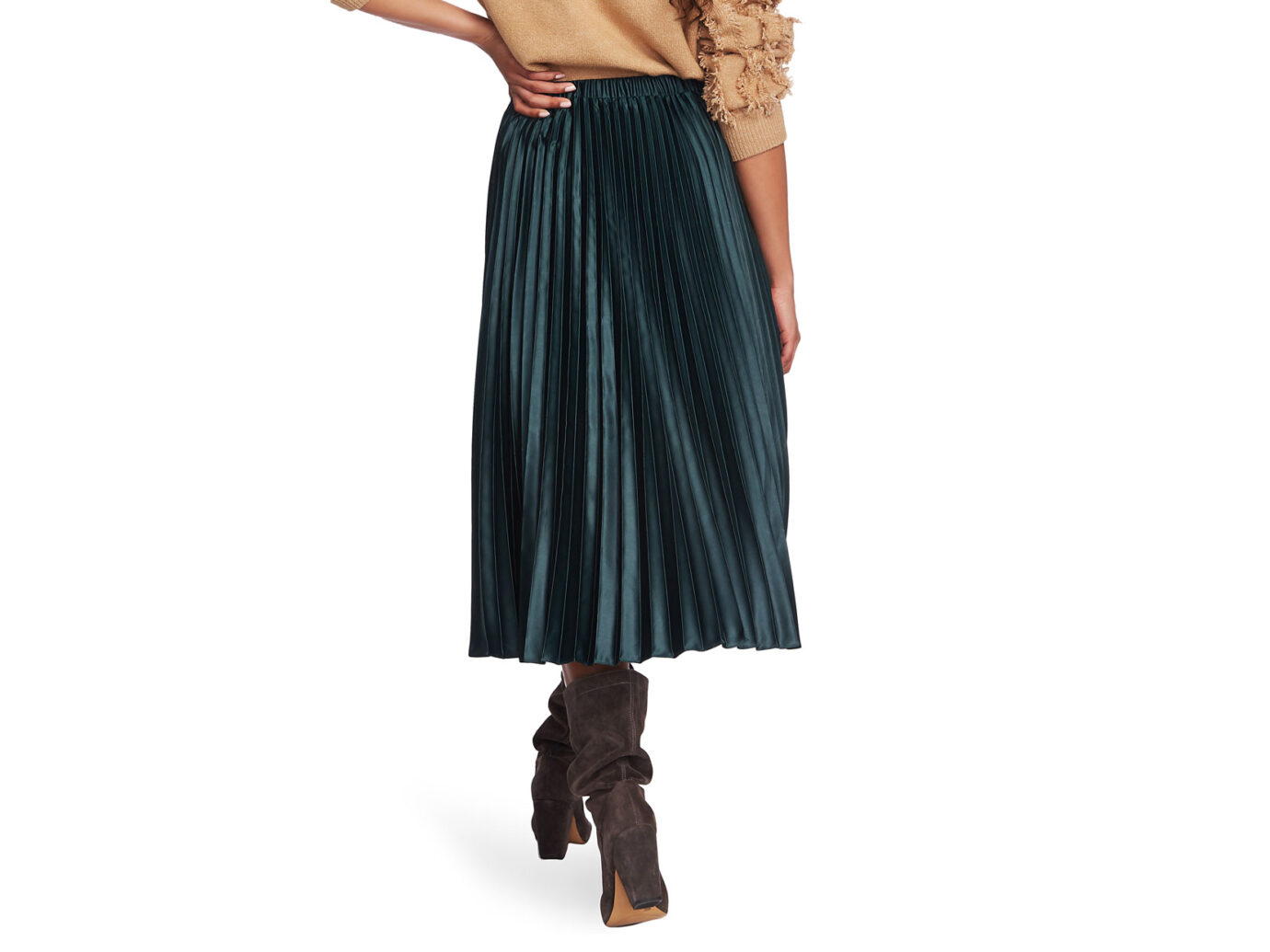 1.STATE Matte Satin Pleated Midi Skirt